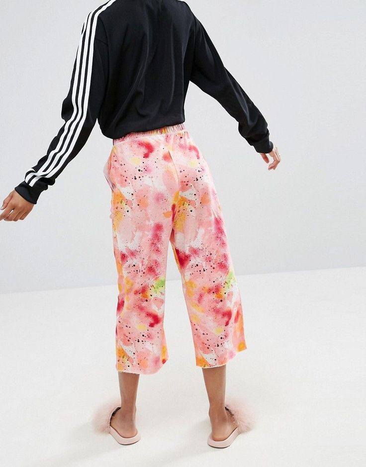 ASOS Drop Crotch Joggers with Raw Seam in Paint Splatter - Multi