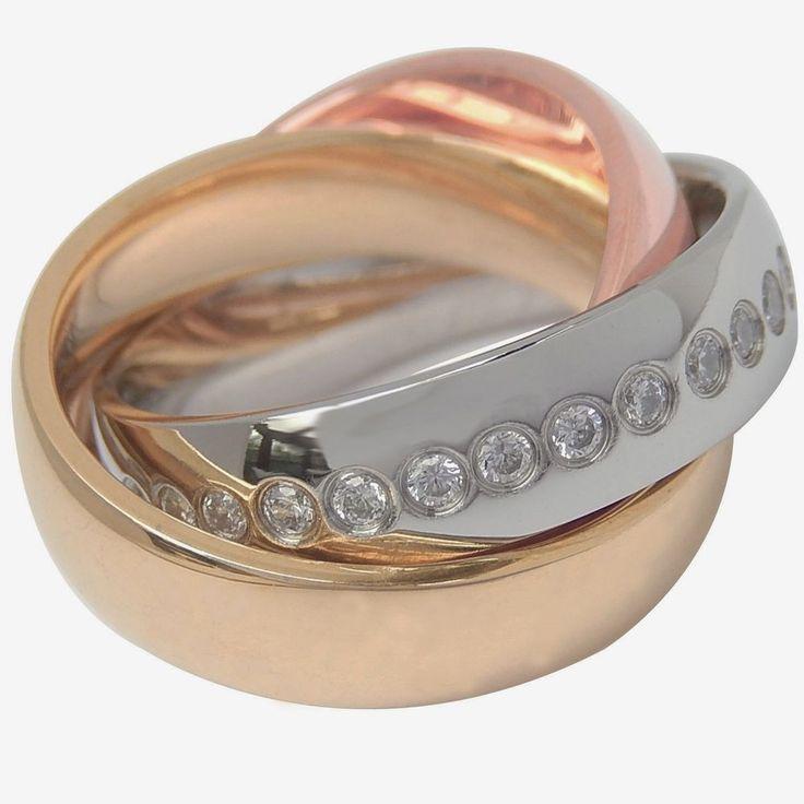 3er Ring Edelstahl massiv 3farbig rose gold silber mit weißen Steinen Swarovski