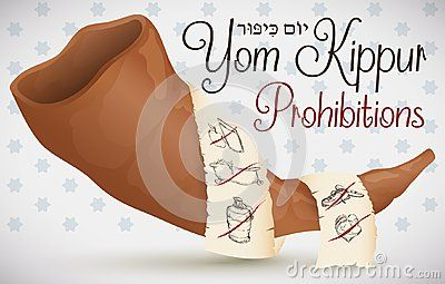 Banner with shofar horn and scroll around it with the traditional prohibitions in Yom Kippur -written in Hebrew-: no eat and drink, no bath, no use perfumes, no wear leather shoes and don`t have sex.