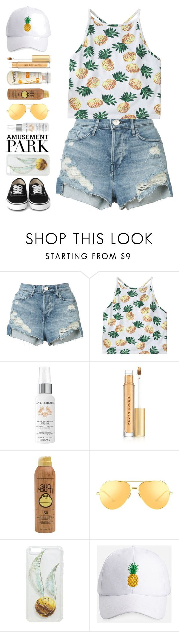 """Caroline"" by brie-the-pixie ❤ liked on Polyvore featuring 3x1, Apple & Bears, Aveeno, Kevyn Aucoin, Sun Bum, Linda Farrow, Hot Topic, Ashley Stewart, amusementpark and 60secondstyle"