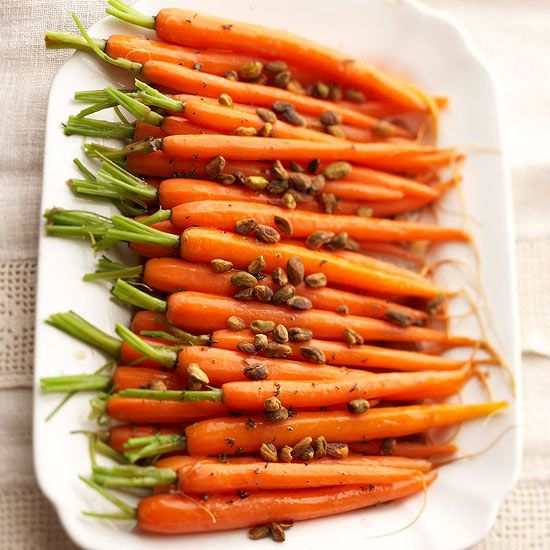 Glazed Carrots with Pistachios A thyme and brown sugar glaze and crunchy toasted pistachios add just the right amount of savory and sweet flavor to this quick and easy side dish. To make ahead, cook the carrots and toast the pistachios the day before, then glaze and reheat before serving.