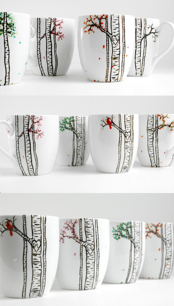 The Four Seasons Birch Tree Collection - 4 Large Personalized Mugs by MaryElizabethArts.com