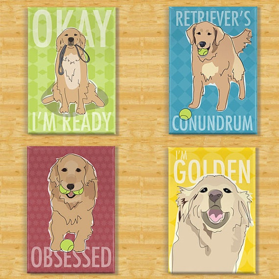 Golden Retriever Dog Magnet Four Pack by PopDoggie on Etsy, $19.99