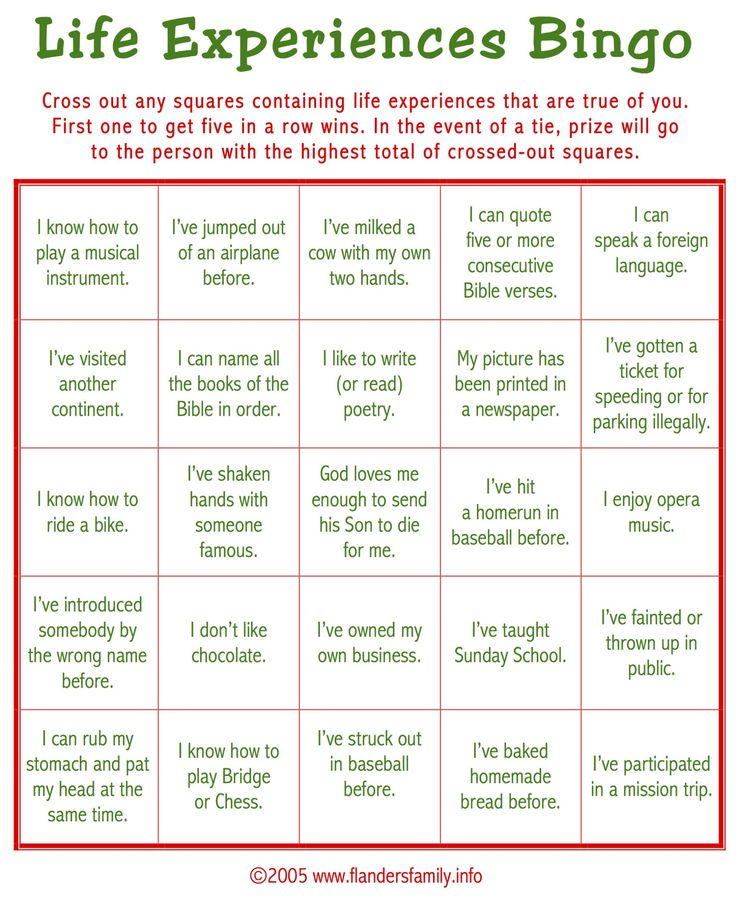 today u2019s game is  u201clife experiences bingo  u201d this makes a