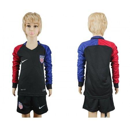 #USA Trøje Børn 2016 Udebanetrøje Lange ærmer.222,01KR.shirtshopservice@gmail.com