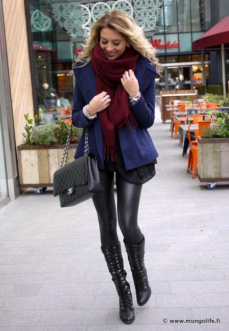 Liquid Leggings u0026 Black Boots | Anna Vanhanen | Style Inspiration | Pinterest | Navy blue Anna ...