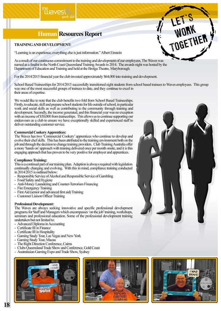 Annual Report Page 18 (Human Resources Report). Would you like a design like this for your business? Email: art3sian@gmail.com
