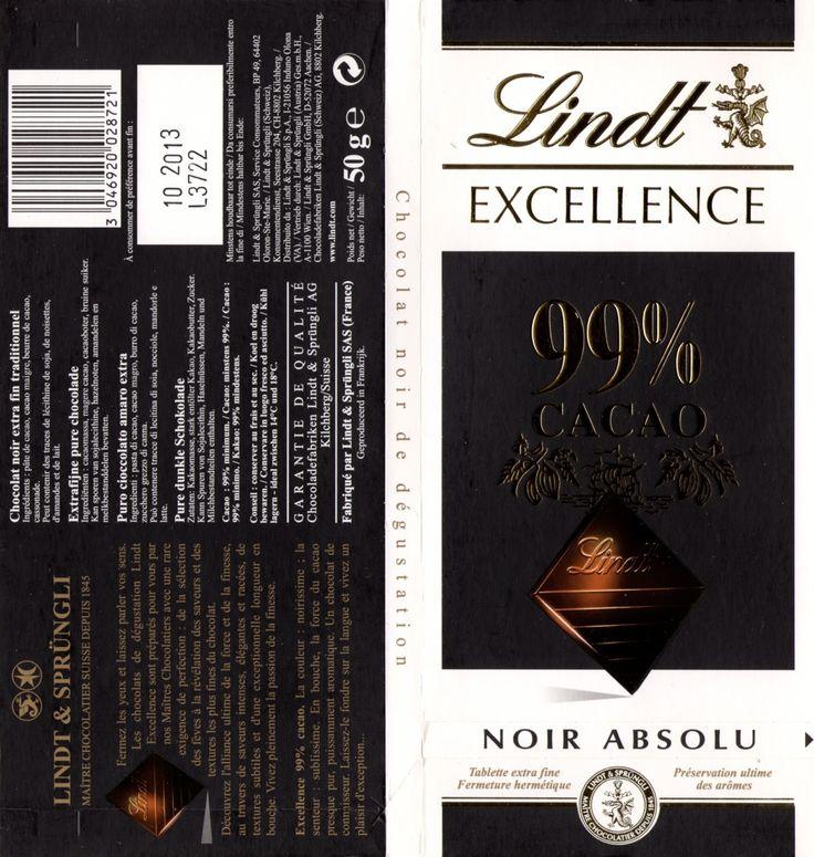 tablette de chocolat noir dégustation lindt excellence 99