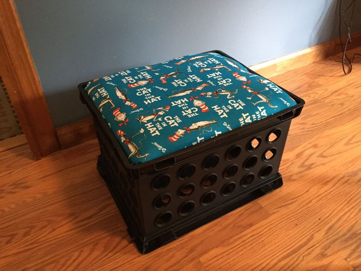 dr seuss inspired milk crate seats for my boys with