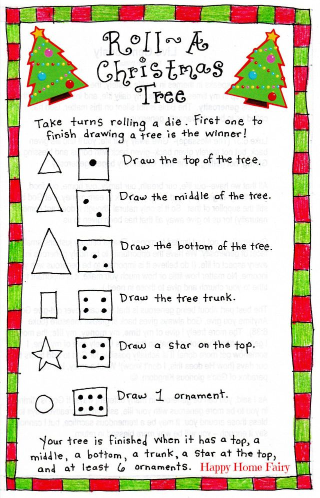 Happy Buddy and I played this fun and easy game this afternoon. All you need is some paper, dice, crayons, and the FREE Printable game (see below for download). **Click HERE for your FREE Printable Roll-A-Christmas-Tree Game** Have fun with your kiddos. Happy Roll-A-Christmas-Tree Game-ing!