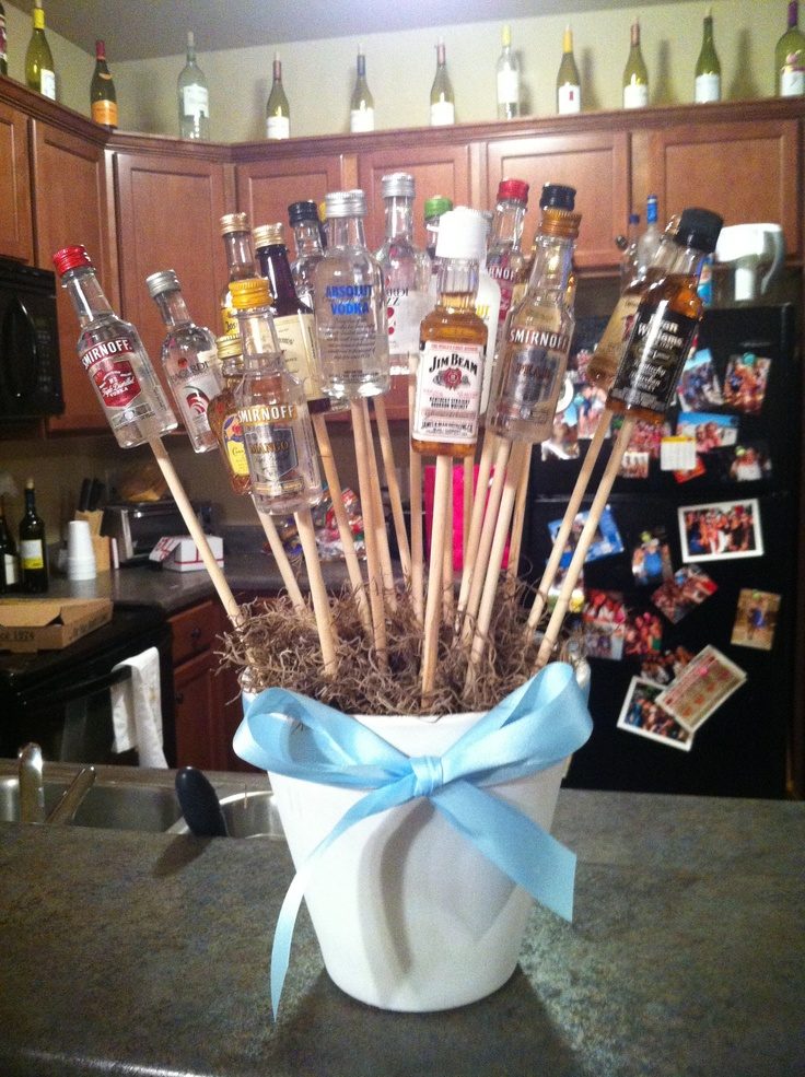 happy 21st birthday mini liquor bottle bouquet!!