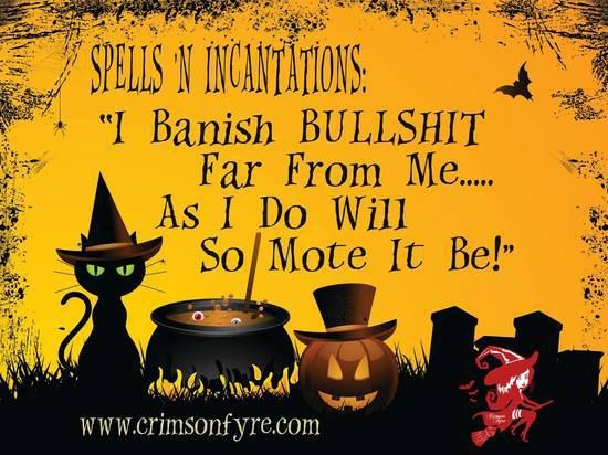 I banish bullshit far from me... As I do will so mote it be!   Share from Kristen )O( at Wiccan Parents