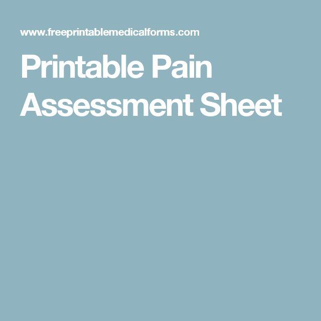 Printable Pain Assessment Sheet