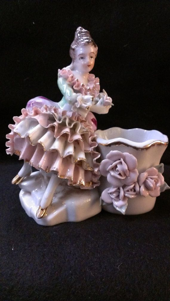 Victorian Figurine Planter 478 by RubyLaneTreasures on Etsy