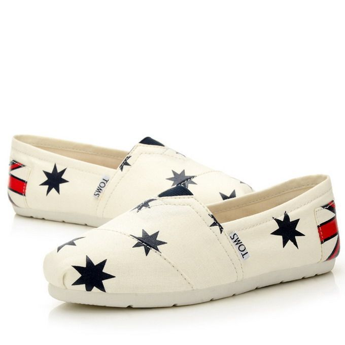 Toms Classic Womens Shoes Star White Flag Toms041 - $22.00 : Toms