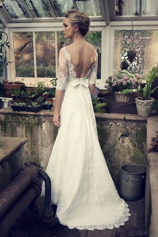 Modest Sleeve White Ivory Lace Wedding Dress Custom Size 2 4 6 8 10 12 14 16 18
