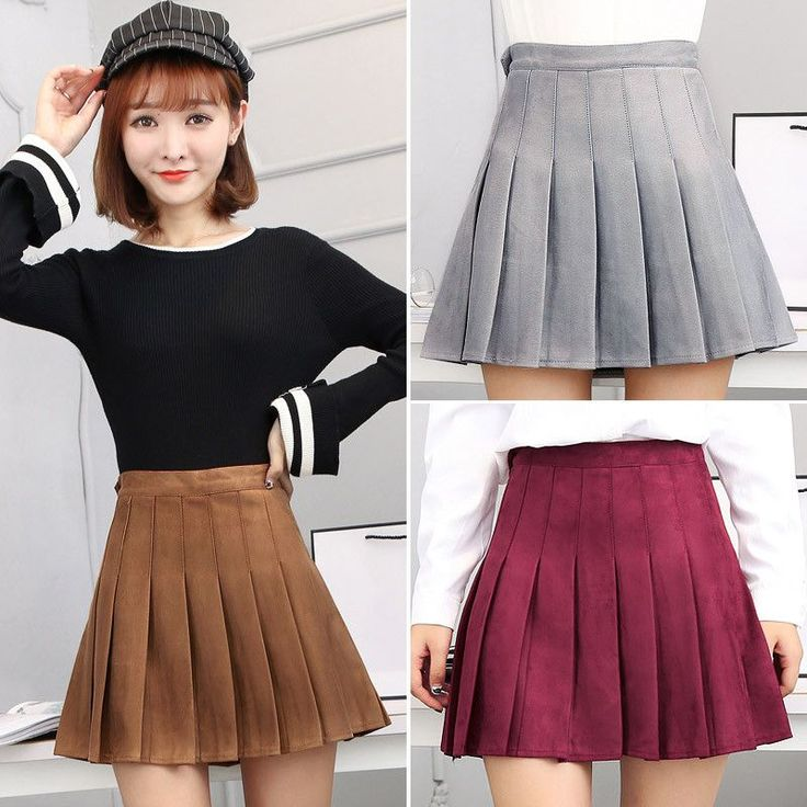 www.sanrense.com - Sweet students suede tall waist skirt SE9144