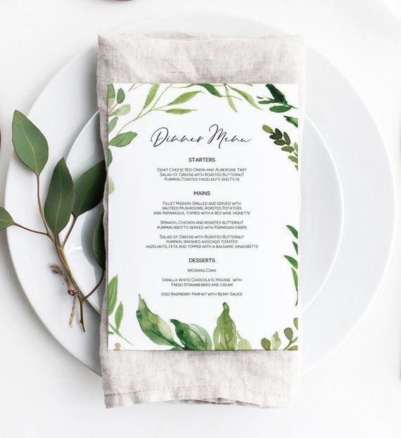Eucalyptus Wedding Menu Template Printable Menu Card Green Leaf Menu Printable We Printable Menu Cards Wedding Menu Template Printable Wedding Menu Template