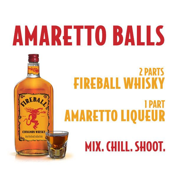 "Fireball Whisky -  Fireball Cinnamon Whisky is a cinnamon-flavored whisky-based liqueur produced by the Sazerac Company. Its foundation is Canadian whisky, and the taste otherwise resembles the candy with a similar name, Ferrara Candy Company's ""Atomic Fireball"" candy.[1] It is bottled at 33% alcohol by volume (66 U.S. proof)."