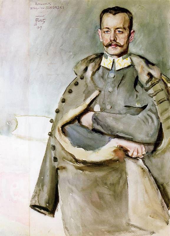 Julian Fałat, Portrait of Colonel Władysław Sikorski, 1917.