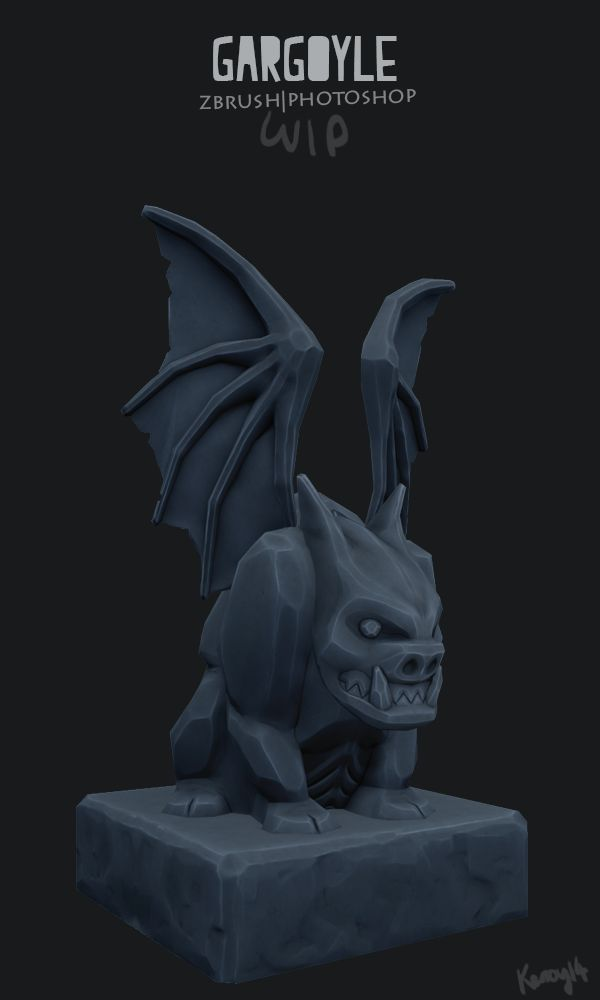 Zbrush, Photoshop, Gargoyle, Game Art, Stone texture, videogames, low poly