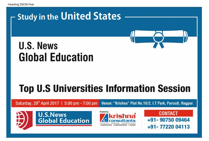Are you planning to study in USA after 10th or 12th? Attend Top US Universities Free Information Session @Krishna Consultants. Clear all your doubts about applying to Universities in #USA.  Date: 29th April, 2017 Time: 5PM-7PM Venue: Krishna, Plot No.10/2, I.T.Park, Opp V.N.I.T., Parsodi, Nagpur-440022 Call: +91-9075009464 Benefits: • Learn more about the U.S. ranking system and which #university is right for you • Learn more about post-study work opportunities in the U.S. • Learn about the…