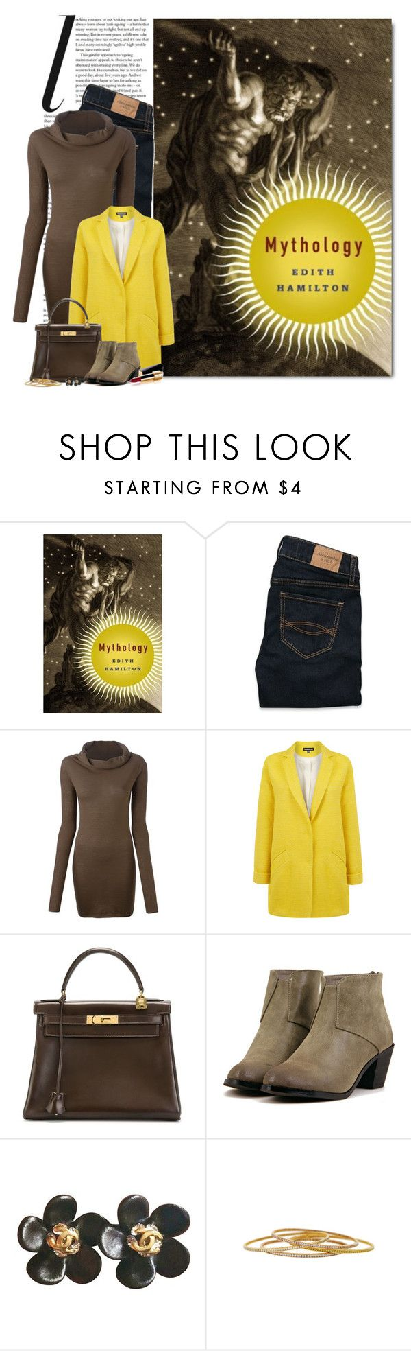 """Mythology by Edith Hamilton"" by ameve ❤ liked on Polyvore featuring Abercrombie & Fitch, Rick Owens, Warehouse, Hermès and Chanel"