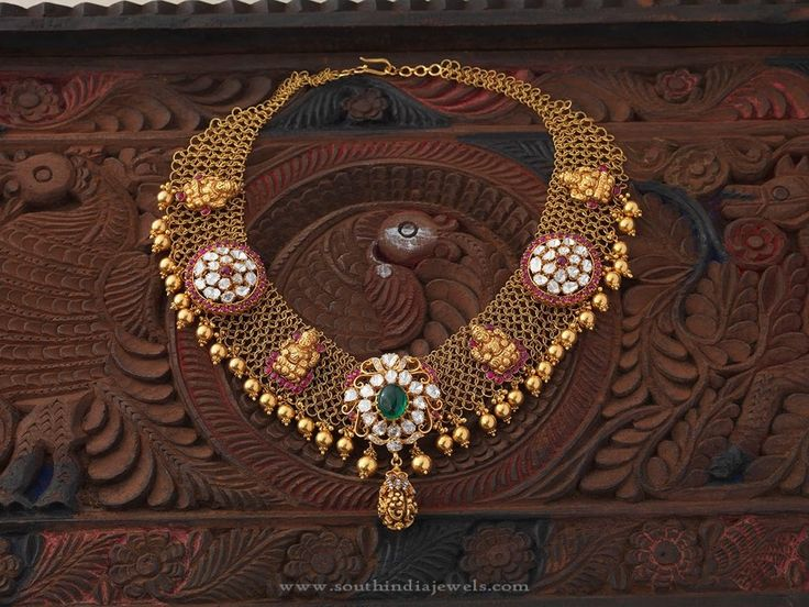 South Indian Gold Temple Necklace Designs, South Indian Style Gold Temple Jewellery Designs, Gold Temple Jewellery Models.