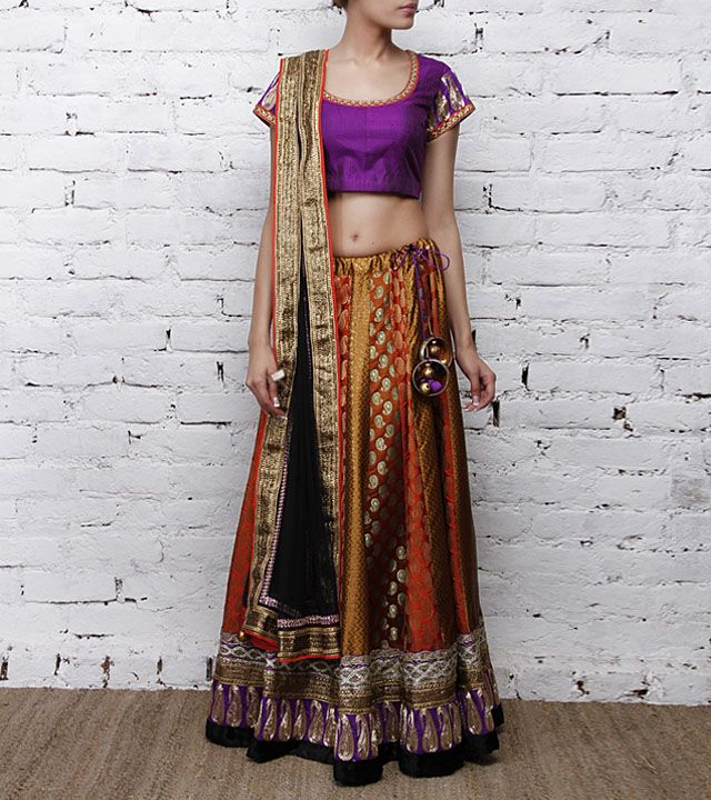 Multicoloured Brocade Silk Lehenga