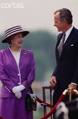 The Queen with President George H.W. Bush