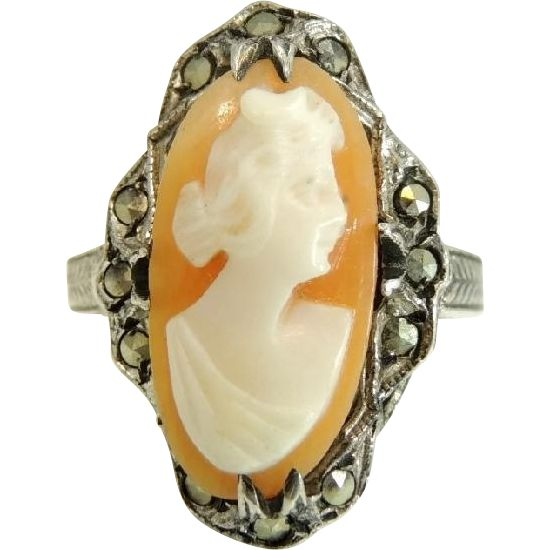 327 best cameos images on pinterest vintage jewellery vintage antique shell cameo ring sterling silver marcasite art nouveau era aloadofball Choice Image