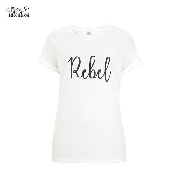 Rebel Women's T-Shirt | Yoga Top, Yoga Tee, Yoga Shirt, Quote Shirt, Love Shirt, Yoga Clothing, Workout Clothes, Yoga Fashion, Yoga Gif