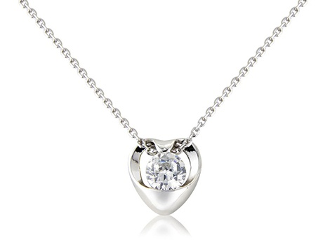 Enveloped sterling silver crystal stone pendant. Single stone with curved polished.