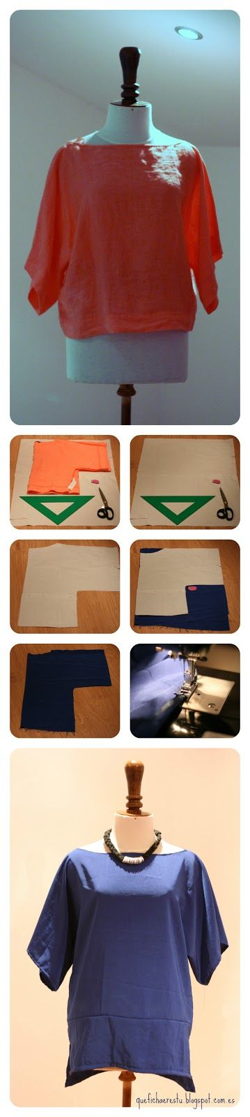 Sewing a shirt. This seems like something I would be able to make. Instructions are in Spanish but the pictures are pretty clear.