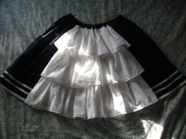 pattern / tutorial for nautical lolita rectangular skirt with bustle