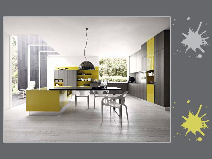 Grigio cemento, cenere pallido e giallo limone: una tavolozza solare e luminosa, per una cucina dallo stile moderno. Sfiziosa come proposta, cosa ne pensi? #grey #yellow #palette #colourfull #kitchen #interiordesign