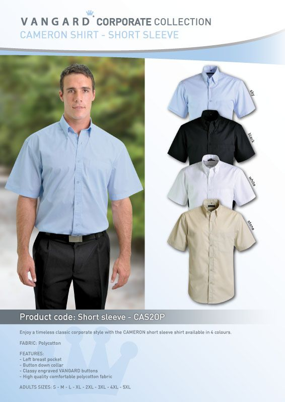 Enjoy a timeless classic corporate style with the CAMERON short sleeve shirt is available in 4 colours.  FABRIC: Polycotton  FEATURES: - Left breast pocket - Button down collar - Classy engraved VANGARD buttons - High quality comfortable polycotton fabric  ADULT SIZES: S - M - L - XL - 2XL - 3XL - 4XL - 5XL