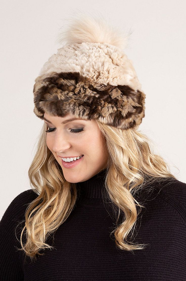 0bd8b158a6ac8b Our two-tone stretch hat is made from heavenly soft Rex Rabbit fur that's  finished with a fluffy raccoon fur pom. Free shipping returns.