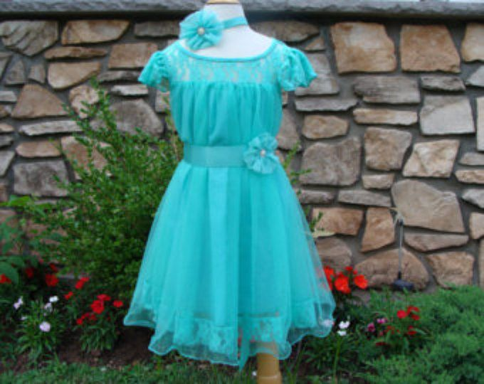 Teal Flower Dress Wedding Dress Birthday Holiday Picture Prop 3, 6, 9, 12, 18, 24 Month, 2-10T Teal Flower Girl Tutu Dress