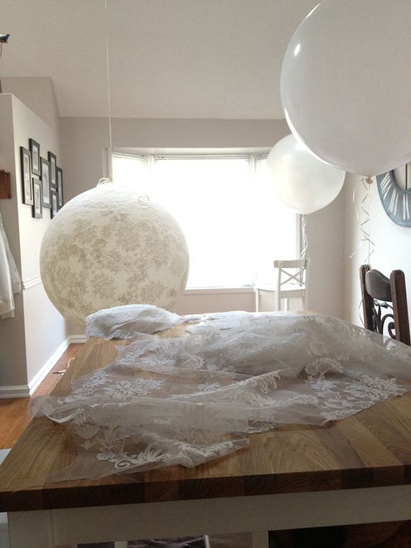 DIY Lace Balloons Tutorial… from Photographic Stylist Catalina Bloch  ballons with brown lace (or whatever color) I like it because they don't look like ballons once covered up...and its like 10$ cheap ballons and some sq ft of lace. would go good behind your sweethart table, beind the dinner table, dessert buffet, drink table or entrance