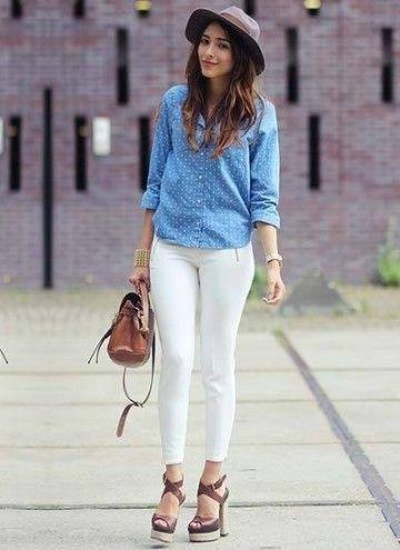 デニムシャツとのシャツとの相性は抜群!!白パンツのレディースコーデ 着まわし