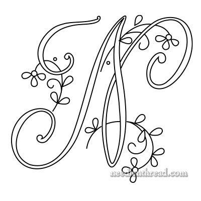 Monograms for Hand Embroidery: Delicate Spray M, N, O – NeedlenThread.com