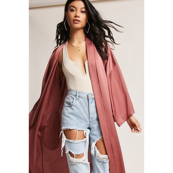 Forever21 Longline Satin Kimono ($45) ❤ liked on Polyvore featuring intimates, robes, mauve, forever 21 kimono, satin kimono, full length satin robe, full length kimono robe and forever 21 robe