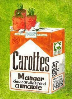 Attention manger des carottes rend aimable! Créer une campagne de pub.