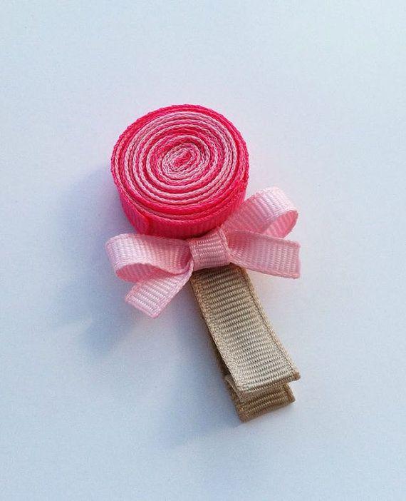 Pinza de pelo de dulce piruleta Rosa cinta por leilei1202 en Etsy