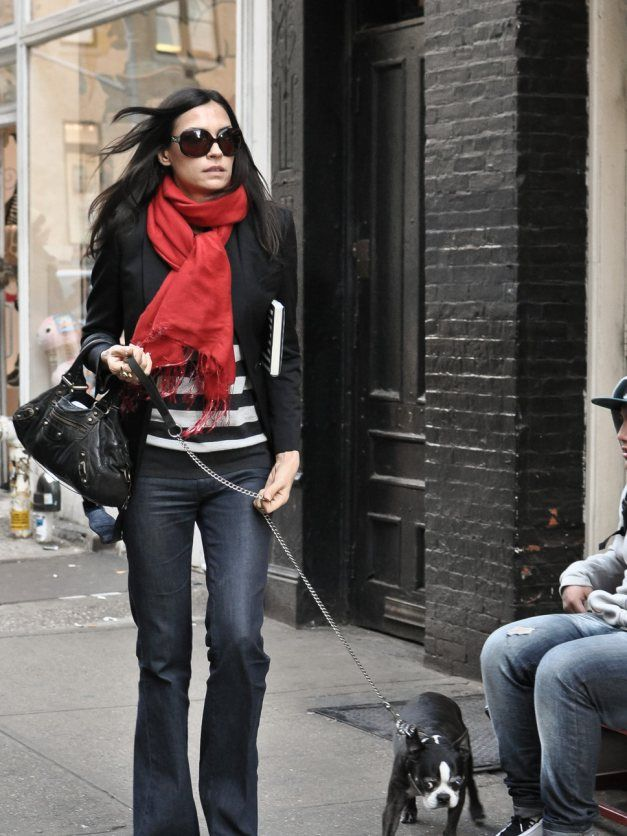 Famke Janssen with red scarf. Dramatic Classic style.