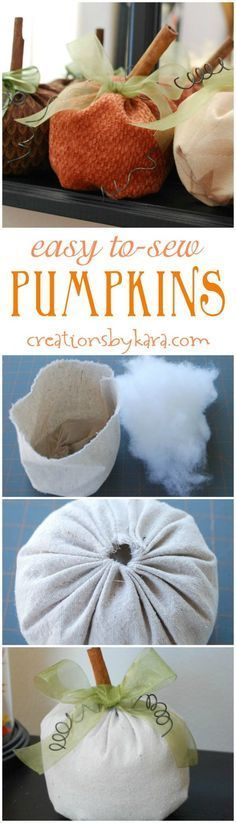 These easy to sew pumpkins can be whipped up in under an hour! They make such cute fall decor!