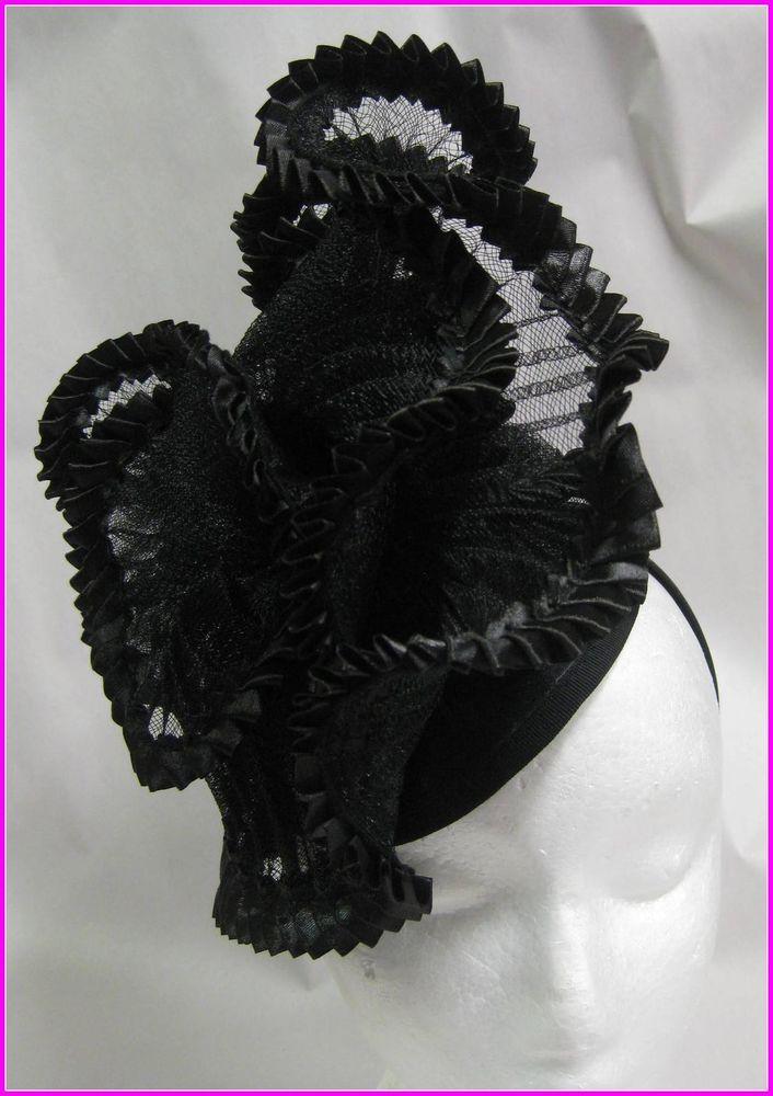 Ladies Black Lace Ribbo Fascinator Hat,Race,Weddings,Formals,Headband,Hat Making