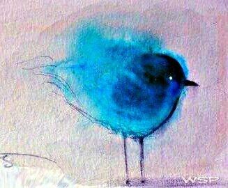 WATERCOLOR of my make believe bird!