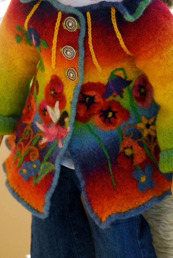 Child's Felted jacket with button closure. WoolCreations By Annette Ringeisen. Pittsboro, NC. Etsy. Hand-knit  hand-felted  hand-embellished  hand-embroidered. This is so pretty!  B.